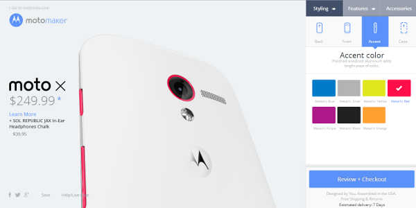 Motorola Moto X : le configurateur accessible