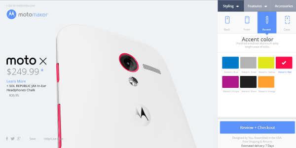 Motorola Moto X : le configurateur accessible