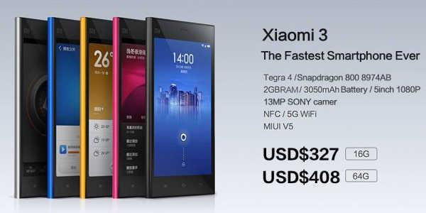 Xiaomi Mi3 : Sortie prochaine du modèle 3G WCDMA