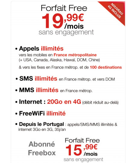 Free Mobile : La 4G pour 0€ de plus