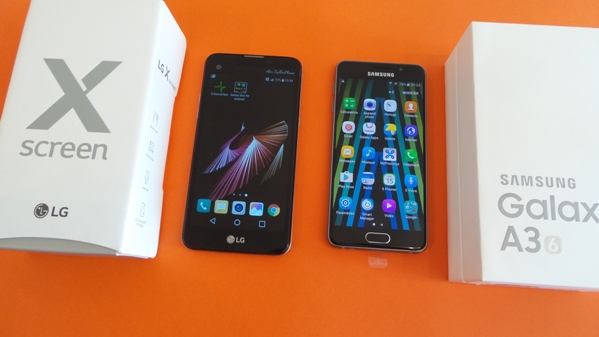 lg x screen vs samsung galaxy a3(6) - vue 14