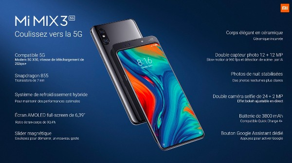 1xiaomi mi mix 3 5g officiel