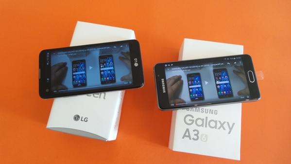 lg x screen vs samsung galaxy a3(6) - vue 18