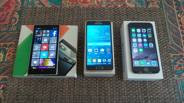lumia 930 vs samsung galaxy alpha vs iphone 6 - vue 12